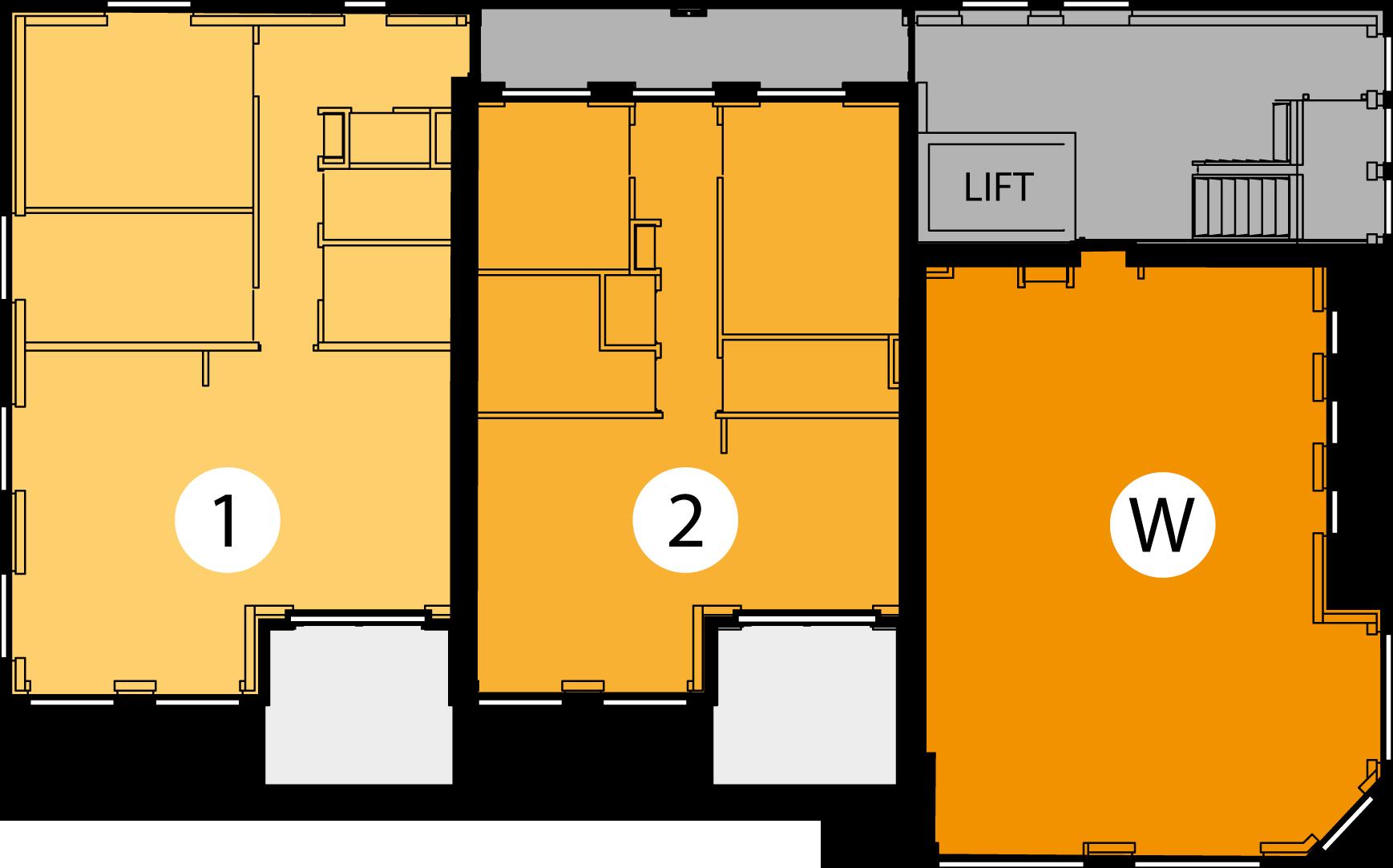 Appartementen 1 en 2 en winkelruimte (W)