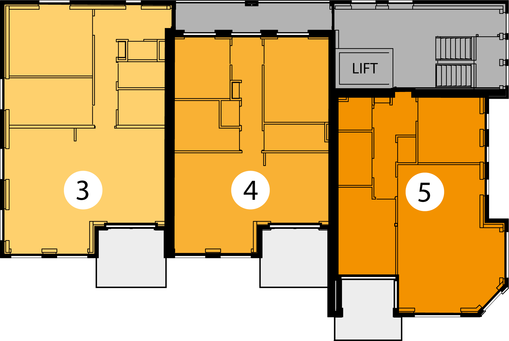 Appartementen 3, 4 en 5  .
